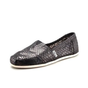 TOMS Black Serpentine Leather Classic Slip Ons